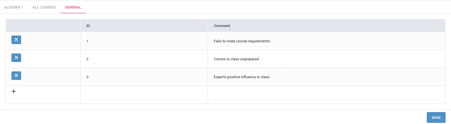 Setting up Report Card Comments for all/ specific courses ...
